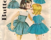 1960s Butterick 2553 UNCUT Vintage Sewing Pattern Toddler's Dress, Suspenders, Scarf, Sailor Collar Size 1