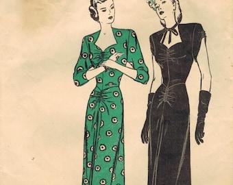 1940s Butterick 4113 Vintage Sewing Pattern Misses Cocktail Dress, Evening Dress, Formal Dress Size 12 Bust 30