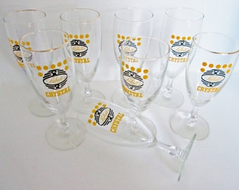 Labatts Crystal Beer Glasses set of 8 Chalice Beer Glasses, Fancy stemmed Coupe 7 inch tall Labatt Yellow logo eight wine glasses