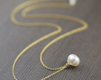 Graduation necklace gifts for her White pearl necklace gold filled necklace