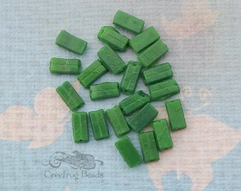 Vintage Glass Nailhead Beads - 4x7  Rectangles in Opaque Forest Green - Flat Back Sewons (24 pc)