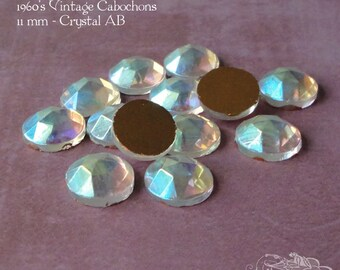 Vintage Cabochons  - 11 mm Crystal AB Aurora Borealis - 6 West German Faceted Glass Stones