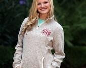 SALE Monogrammed Heather Quarter Zip - Personalized Heathered Sweatshirt, Monogrammed Pullover, Fleece Pullover Sweater, Charles River,