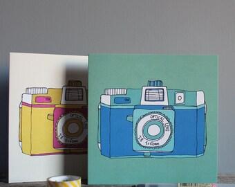 Holga Camera Blue Recycled Greetings Card