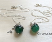May Jade OR Chrysoprase Gemstone Birthstone Acorn Necklace - May Birthday - Bridesmaids Jewelry - Mother's Day Gift - Christmas Gift