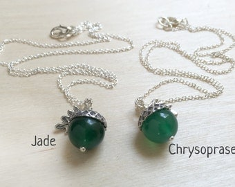 May Jade OR Chrysoprase Gemstone Birthstone Acorn Necklace | May Birthday Necklace | May Birthstone Charm Necklace | Nature Jewelry