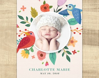 bright floral baby birth announcement, photo birth announcement,, girl birth announcement, PRINTABLE announcement, digital baby announcement