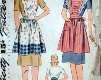Vintage 40's Simplicity 4585 Sewing Pattern, Misses' Half Or Bib Apron, Simple To Make, Size Small, 32-34 Bust, 1940's Fashion