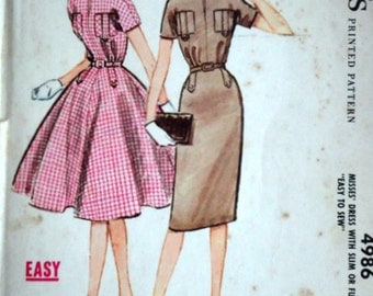 Vintage 50's McCall's 4986 Sewing Pattern, Misses' Dress with Slim or Full Skirt, Size 12, 32 Bust, Easy To Sew