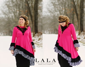 LillyAnnaKids Ladies MISTY Peplum Hot Pink Black White Stripe Ruffle Shirt top LALA