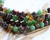 MARBLE MIX 4mm .. 50 Picasso Czech Druk Glass Beads (5103-st)