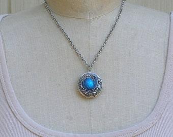 Art Nouveau Style Locket, Silver Round Picture Locket, Blue Enamel Locket Pendant