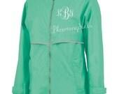 Ladies Monogrammed Raincoat Mint Green Charles River Jacket