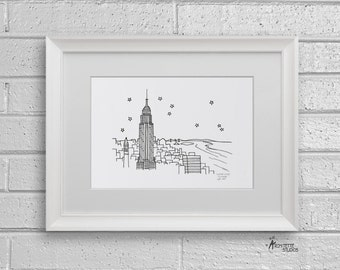 Sketch Series - Empire State Building, New York City - Art Print (5 x 7)