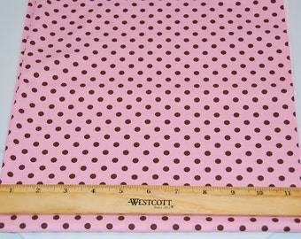 Michael Miller Dumb Dot in Pink and Brown  - Cotton Fabric End of Bolt Remnant
