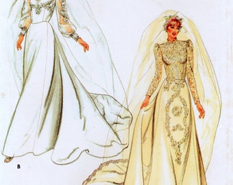 "Butterick 3944 Misses Bridal Gown Vintage Sewing Pattern Size 12 Bust 34"" or Size 16 Bust 38"""
