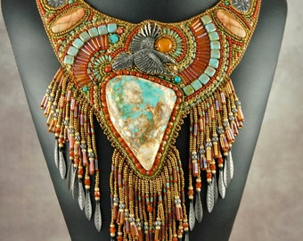 Bead embroidery, Beaded, necklace, rave , pewter, turquoise, amber, original necklace