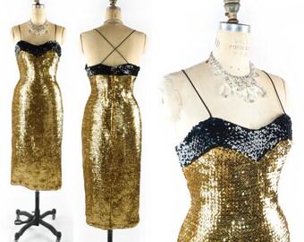 Vintage Sequin Dress // Gold Sequin Dress // Stretch Sequin Dress // Gold Dress // Metallic Dress // 50s Style Dress - sz L 32 Inch Waist