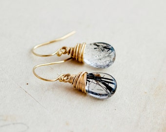 Tourmalinated, Gold Earrings, 14K gold filled, black and white, yellow gold, drop earrings, dangle earrings, polestar, quartz earrings