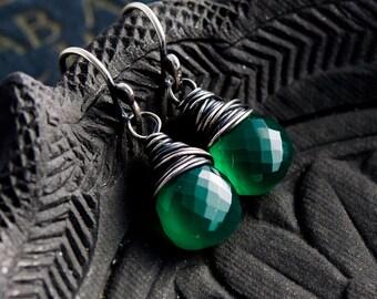 Green Onyx Earrings, Emerald Green, Kelly Green, Drop Earrings, Dangle Earrings, Wire Wrapped, Sterling Silver, Green Onyx, PoleStar