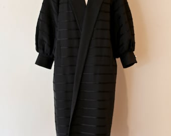 Vintage 1950s Black Opera Coat with Ballon Sleeves and Rhinestone Buttons