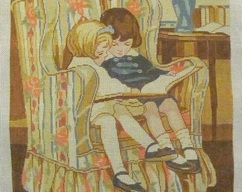 Children Reading in Armchair Needlepoint Canvas Theodora Handpainted