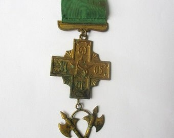 Vintage antique Fraternal badge medal pin United Order of the Golden Cross brass cross axes parts collect or upcycle