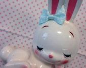 Vintage Japan Cute Ceramic Rabbit Bunny Money Bank Rune Naito Art