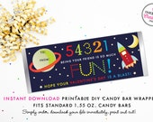 Outer Space Valentine's Day Candy Bar Wrapper - Instant Download Valentine for Kids (DIY/Digital File to Print Your Own)