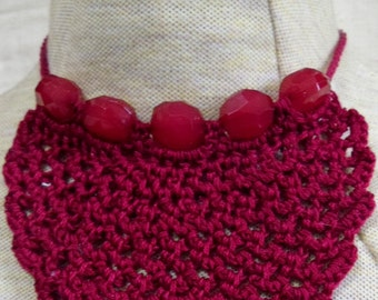 Maroon mesh crocheted  necklace with matching beads - trach stoma cover