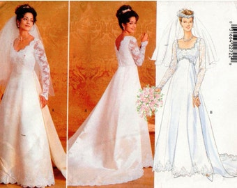 Vintage UNCUT Butterick Pattern 4289 - Misses Wedding Dress with Princess Seams and Raised Waist, and Detachable Train - BRIDAL - 14-18