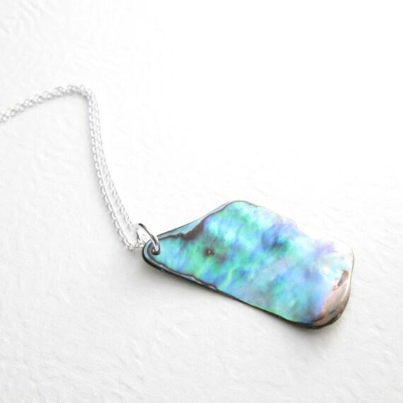 Green Abalone Necklace, Paua Sea Shell Jewelry, Blue Iridescence