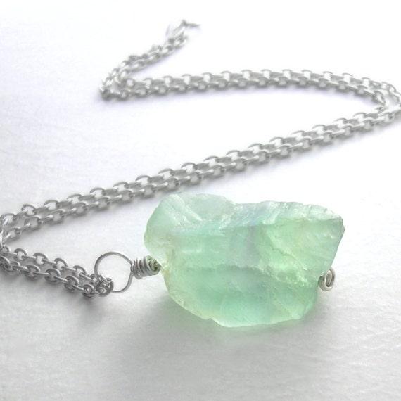 Seafoam Green Fluorite Pendant, Natural Stone Jewelry, Raw Uncut Gemstone