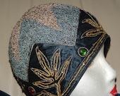 VINTAGE 1920S Blue FLAPPER CLOCHE Hat Glass Stones Sequins Satin Soutache Labeled Wistaria Small Downtown Abbey
