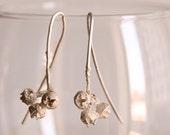 Nature inspired earrings-Sterling silver eucalyptus earrings -Organic drop earrings -Nature cast jewelry-Woodland  jewelry