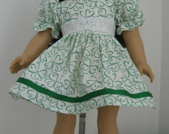 Doll Clothes Made to Fit American Girl Dolls,  St. Patricks Day Green & White  Shamrock Dress Fits AMERICAN GIRL Dolls