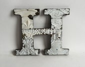 """Tin Ceiling Wrapped 8"""" Patchwork Reclaimed Metal White Letter """"H"""" Mosaic Wall Hanging 211-16"""