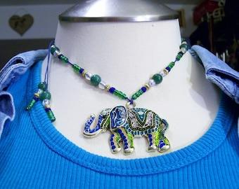 Funky Tribal Eccentric  Painted  Elephant Adjustable Necklace Sri sukta