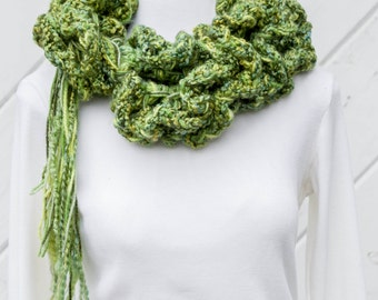 Lime Olive Cypress Fluffy Ruffled Scarf Mixed Greens Long Boa Style