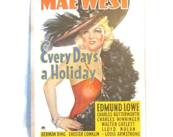 Vintage Mae West movie marquee poster - 1970s reprint - Every Day's A Holiday