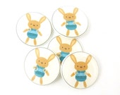 "5 Bunny or Rabbit Buttons.  Handmade Buttons.  Easter or Spring Sewing Buttons. 3/4"" or 20 mm."