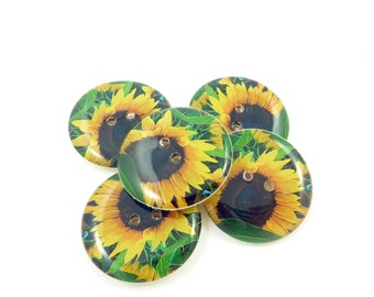 "5  Sunflower Buttons.  LARGE Brown and Yellow Sunflower Sewing Buttons. 1"" or 25 mm Round.  Handmade By Me. Washer and Dryer Safe."