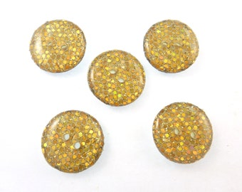 "5 Gold Sparkle Sewing buttons.  Handmade Buttons.  3/4"" or 20 mm.  Handmade by Me.  Washer and Dryer Safe."