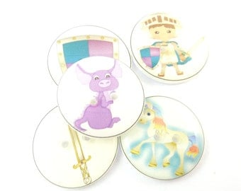 "5  Knight Buttons.  Dragon Buttons.  Unicorn Buttons.  Buttons for Boys.  Children's Buttons.   Craft Buttons.  3/4"" or 20 mm."