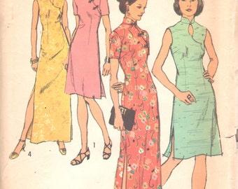 Simplicity 5010 1970s Misses Oriental Cheongsam Dress Pattern Womens Vintage Sewing Pattern Size 12 Bust 34 UNCUT