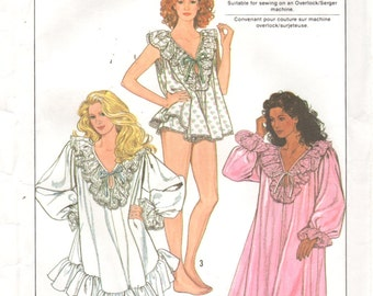 Simplicity 9455 1980s Misses  Nightgown and Baby Doll Pajamas Pattern Womens Vintage Sewing Pattern Size S M L XL XXL Bust 32 - 48
