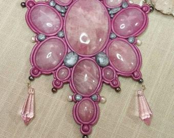 Loves Star Polymer Clay Rose Quartz Altar Shield Pearls