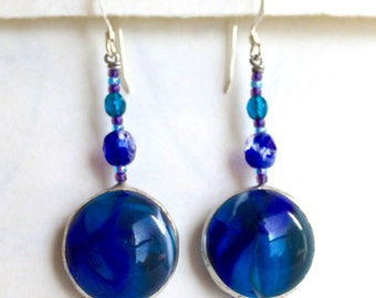 Cabachon Earrings with beads, handmade jewelry