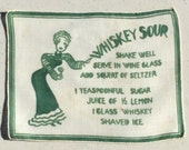 Vintage Cocktail Textile Art Deco Drink Recipe I'll Have A Whiskey Sour