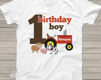 first 1st birthday boy farm old mcdonald theme tractor birthday party shirt perfectly adorable